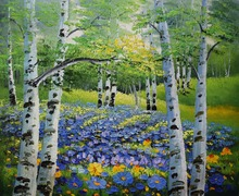 Hand Painted Oil Painting on Canvas Modern Abstract Tree Forest Landscape Canvas Painting Wall Art Picture for Home Decoration