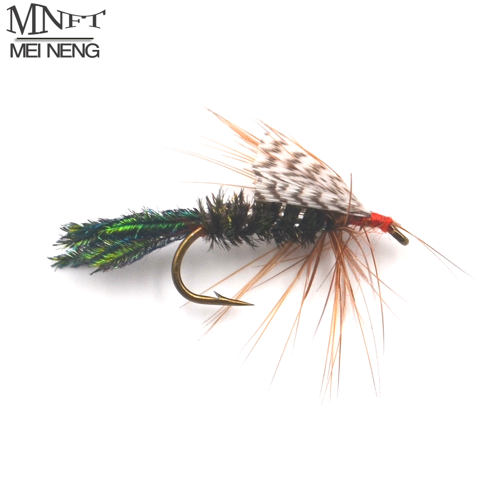 Mnft 10pcs olive green peacock herl body bug fishing flies for Fly fishing feathers