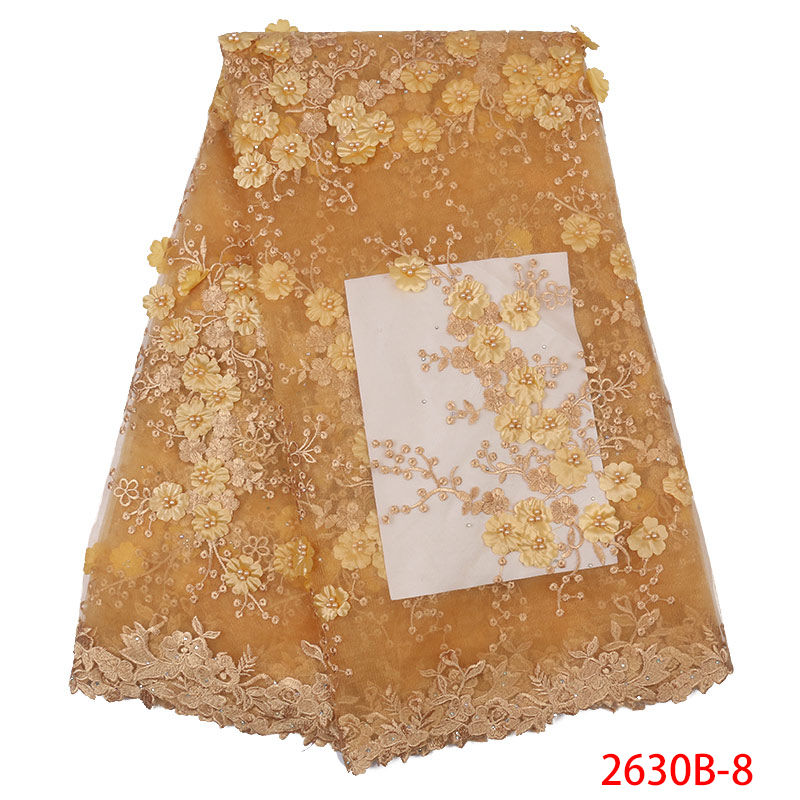 African Fabric Lace Nigerian Lace Fabrics 2019 High Quality 3d Lace Applique Embroidery Tulle Lace With Bead KS2630B-8