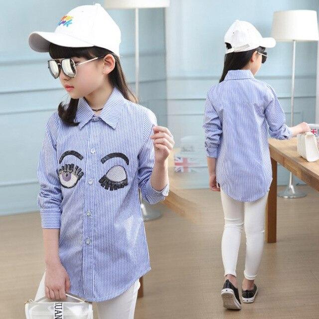 35f206aa6 Niños Blusas Blancas Collar de Flores de Manga Larga Camisetas Para Niñas  Tops de Algodón Casual