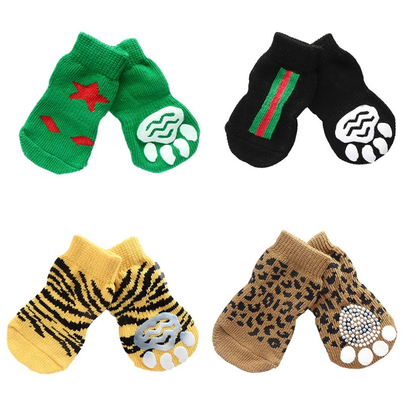 Hot Sales 11 Styles 4pcs Pet Dog Knitted Shoes Pattern Non-slip Socks Paws Cover Shoes Size S M L XL