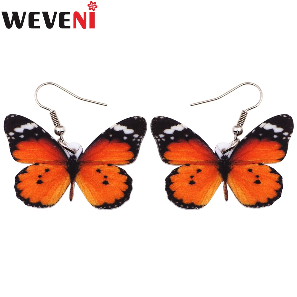 WEVENI Drop Dangle Big Danaus Chrysippus Butterfly Earrings For Women New Fashion Accessories Acrylic Printing Insect Jewelry