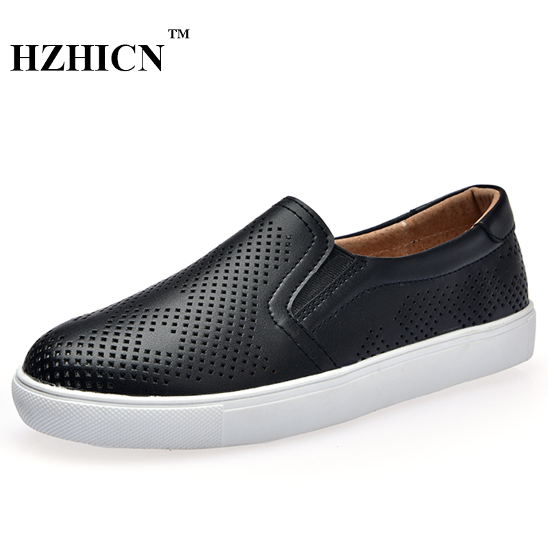 Hot Sale Leather Shoes for Women Hollow Shoes Supper Light Breathable Loafers Casual Oxfords Fashion Flats Moccasins Black White hot sale open front geometry pattern batwing winter loose cloak coat poncho cape for women