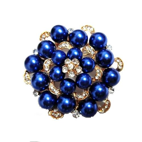 Серебряный тон искусственный жемчуг и горный хрусталь с бриллиантами, кристалами для свадьбы брошь с букетом - Окраска металла: Gold Royal