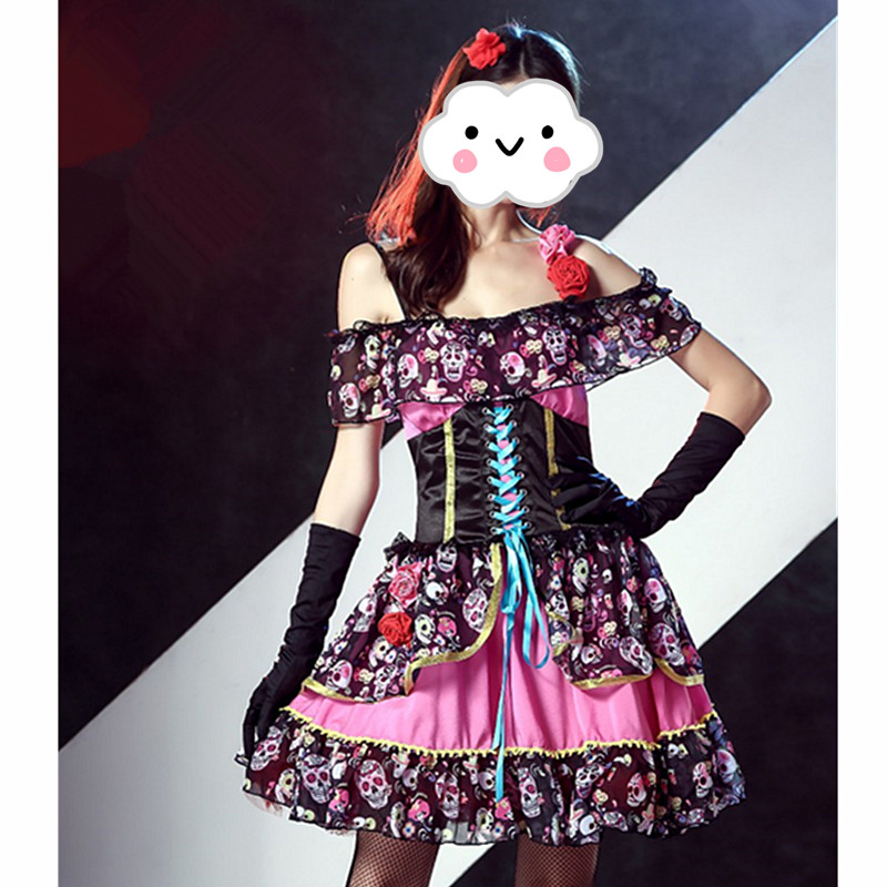 2016 Halloween Dress Beautiful Adult Skeleton Day of the dead Gothic  Bride Costume Women's Sexy Halloween horror Fancy dress