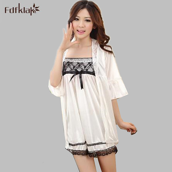 96b5a4693a New Fashion Robe Gown Sets Sexy Lace Lingerie Set Women s Sleepwear 2 Pieces  Sleep Suits Womens Nightwear Home Clothes A395