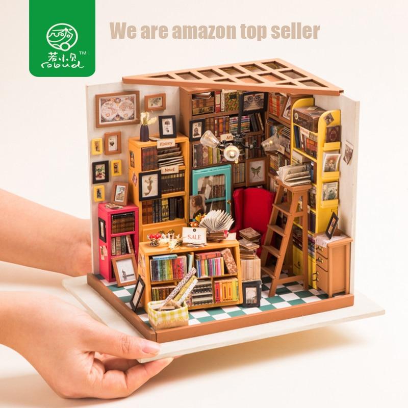 Robud Diy Dollhouse Miniature Doll House Furniture Wooden Dollhouse
