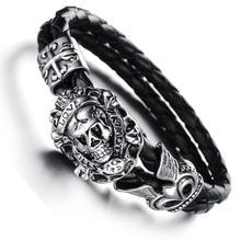 Wholesale New Fashion Men Jewelry Vintage Skull Stainless Steel Black Black Synthetic Leather Bracelets Bangles For Men 845