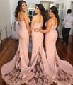 New Arrival Spaghetti Strap Mermaid Bridesmaid Dress Lace Custom Made Plus Size Wedding Dresses