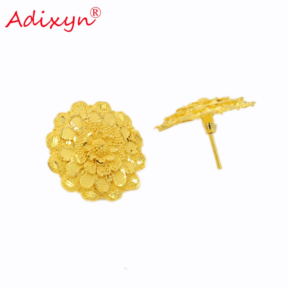 Adixyn Round 2.8cm Stud Earrings For Women Gold Color/Copper Manual Jewelry Gifts N02205