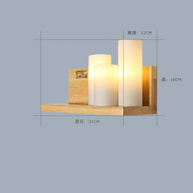 Nordic Wood Wall Lamp Loft Decor Aisle Corridor Living Bedroom Bedside Wall Light Shelf Bookshelf Wall Sconce Reading Room Art