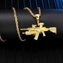 цена на Iced Out Bling Gun Rhinestone Rope Chain Gold Color Pendants & Necklaces For Men Hip Hop Jewelry Dropshipping