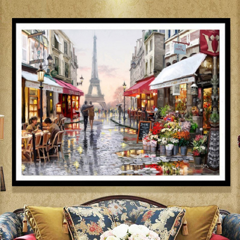 5D Diy Diamond Painting Full Drill Square Diamond Embroidery Romantic Paris Street View European Home Decoration