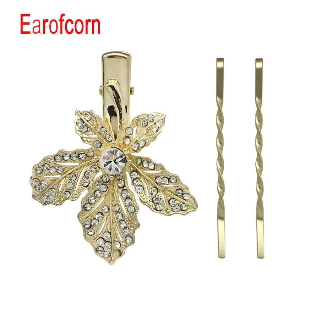 Earofcorn Fashion Chic Golden Maple Leaf Flowers Flash Drilling Boutique Combination Set Hair Accessories in Hair Jewelry from Jewelry Accessories