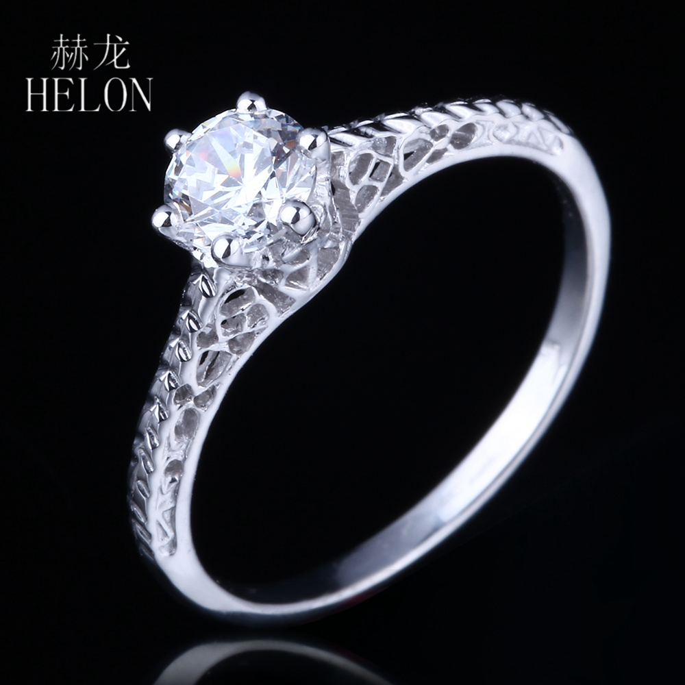 Helon Round 5mm Aaa Graded Cubic Zirconia Antique Engagement Semi Mount  Filligree Vintage Ring 14k White