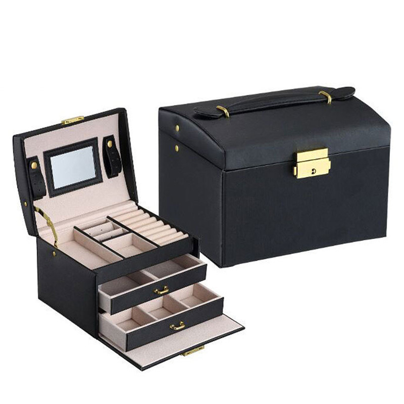 pu leather jewelry box organizer 3 layers casket rings