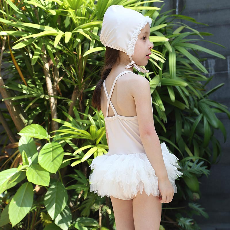 2017 3D Swan lace child swimwear summer white sling girls swimsuit one piece baby princess pool swimming beach kids Bathing suit