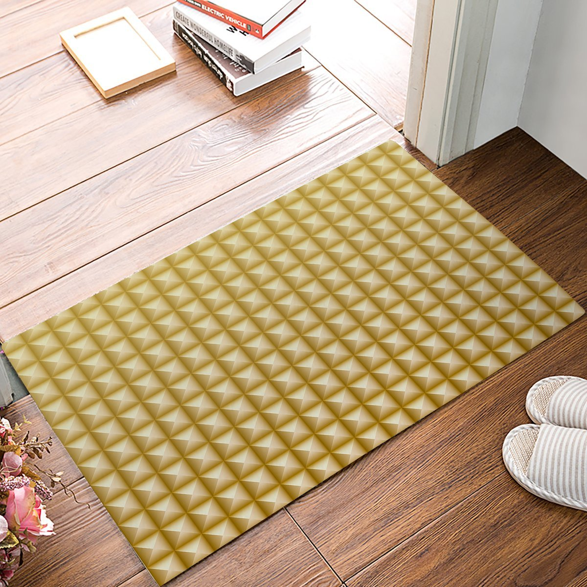 Yellow And White Gradient Square Grid Plaid Pattern Door