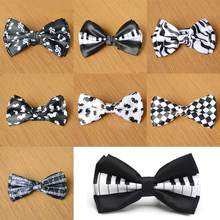 Men Bow Tie Piano Keyboard Printed Bow Tuxedo Dress Bowtie Party Wedding Unisex Magician Waiter Bowties(China)