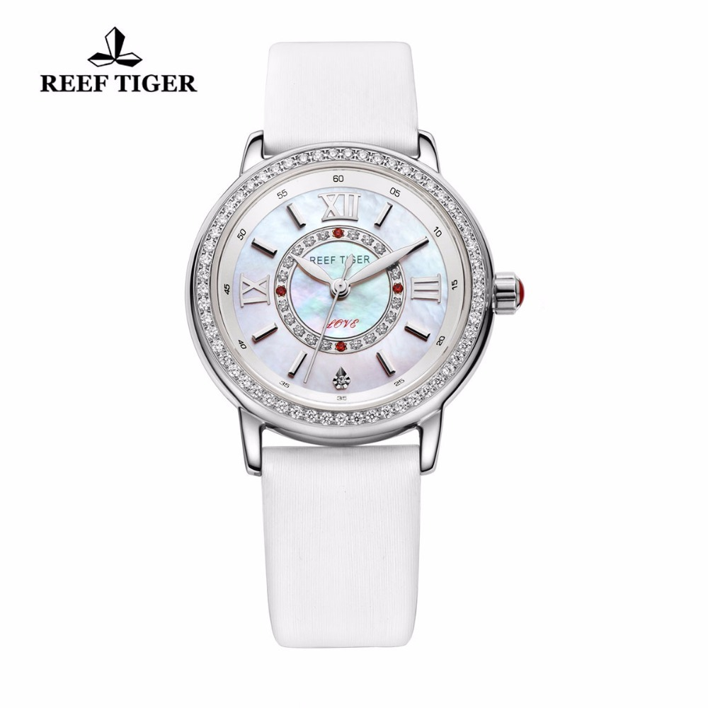 цена на Reef Tiger/RT Fashion Elegant Watches for Women Diamonds Bezel MOP Dial Calfskin Leather Ronda 763 Quartz Watches RGA1563