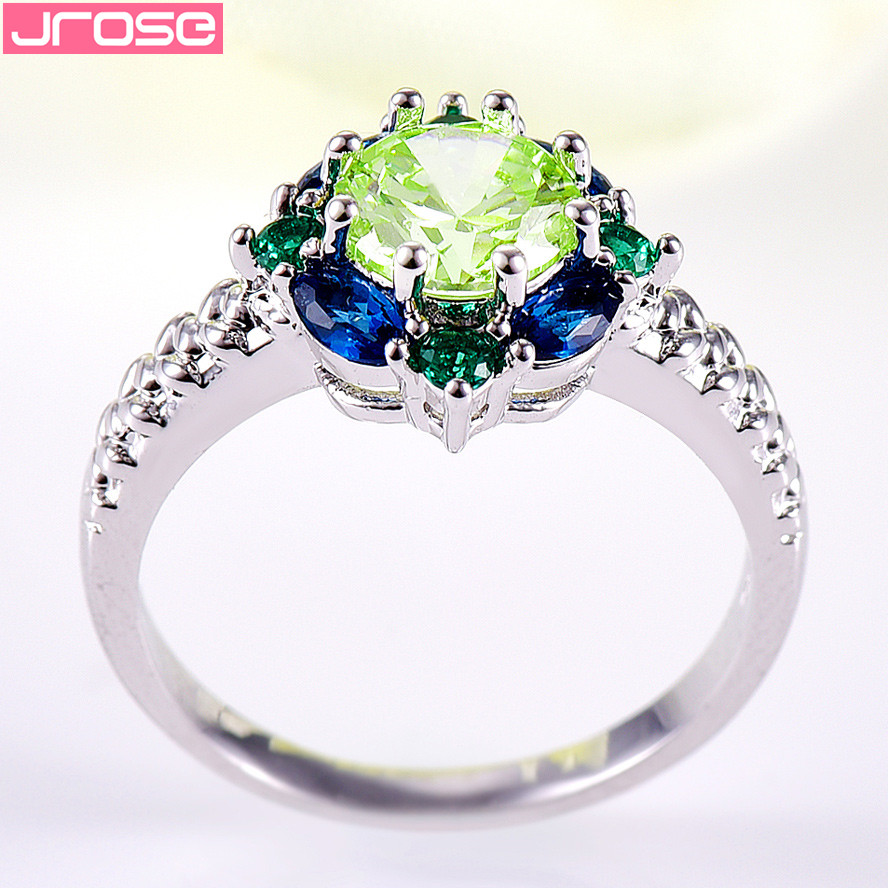 JROSE Venta al por mayor Hot Engagement Round Cut Blue & Green CZ - Bisutería - foto 6