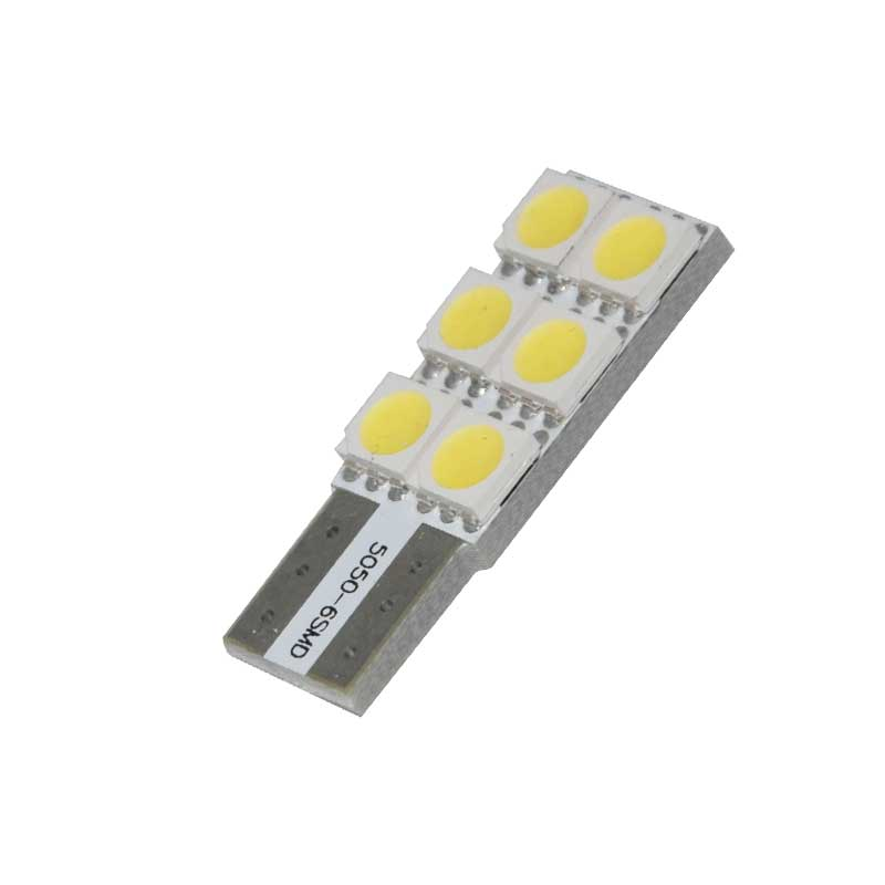 2pcs Car T10 LED Light Bulbs 6 SMD 5050 6000K White Auto License Plate Lights Signal Lamp DC 12V Reading Lamp Reversing Light in Signal Lamp from Automobiles Motorcycles