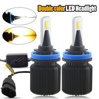 H4 H7 H13 LED Car Headlight Bulbs H1 H3 H8 H9 H11 880 881 9004 9005 9006 9007 9012 Dual Color Auto Front Headlamp Fog Lights