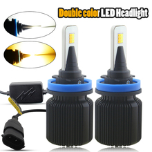 цена на H4 H7 H13 LED Car Headlight Bulbs H1 H3 H8 H9 H11 880 881 9004 9005 9006 9007 9012 Dual Color Auto Front Headlamp Fog Lights