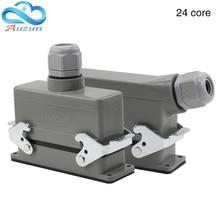 Conectores rectangulares h24b he 024 1 de alta resistencia, línea de 24 Pines, 16 a500v, pies de tornillo de aviación, enchufe lateral