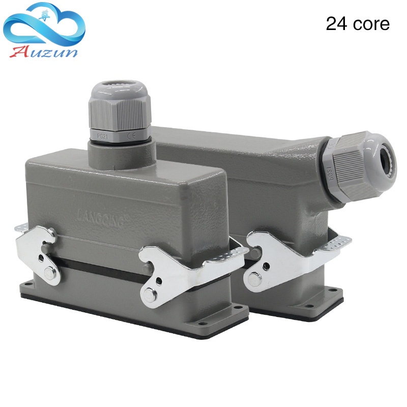 Rectangular H24B - HE - 024-1 heavy duty connectors 24 pin line 16 a500v screw feet of aviation plug on the side