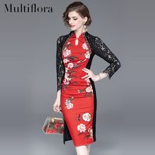 2019 spring and summer High waist Slim Chinese dress womens lace Patchwork Cotton stitching print