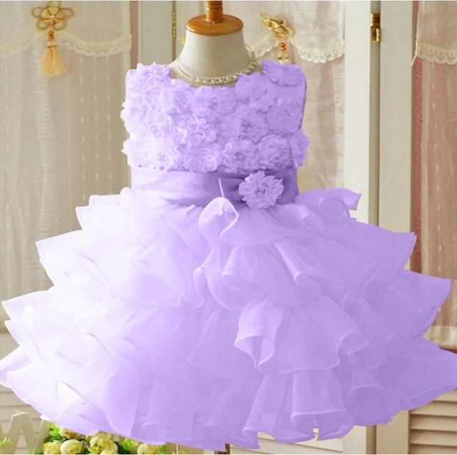Baby Children Clothing 2014 New Spring Sweet Flower Bow Lace Girls Dresses Kids Princess Clothes Girl Party Dress