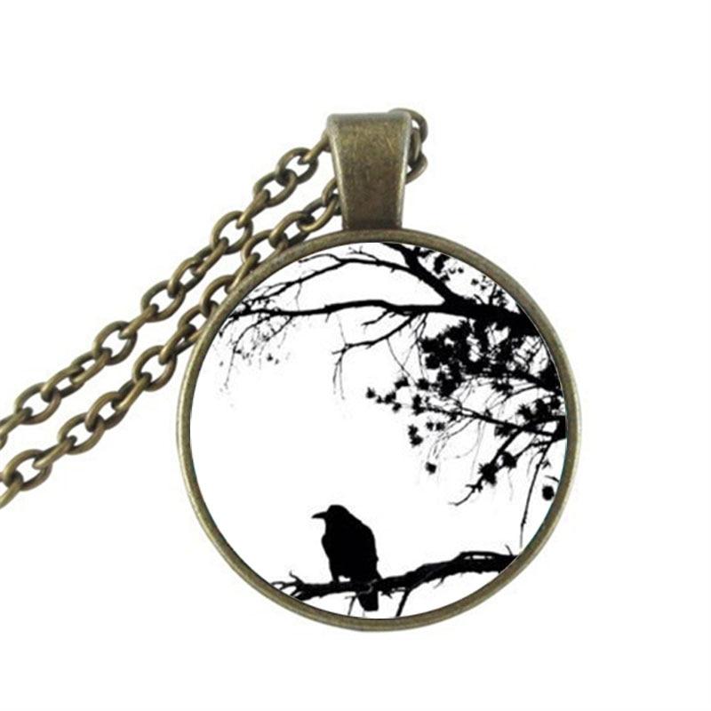 2017 New Arrival Zinc Women Collier Collares Maxi Necklace Crow Pendant Necklace B&m Hot Sale Retro Round Glass Wholesale HZ1
