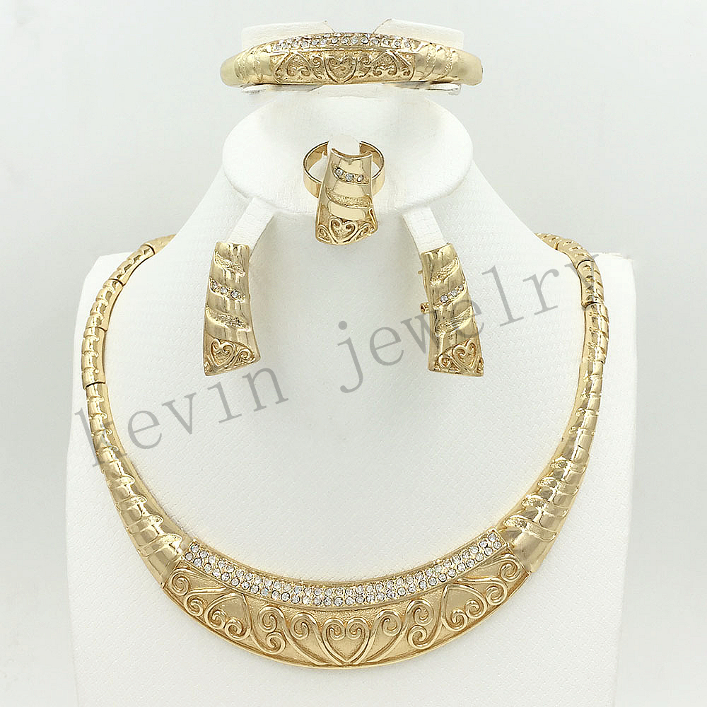 Beautiful Dubai African Wedding Jewelry Goldcolor Exaggerate Necklace And  Bracelet Set Classic Charm Female