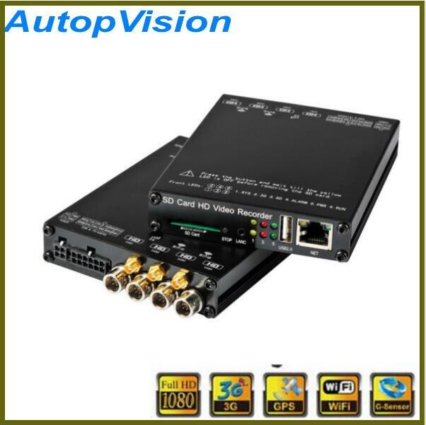 hot sale 1080P 3G GPS WIFI Vehicle mobile DVR h.264 car alarm monitoring system HDVR004 + 4 HD extension cord + 4 cameras