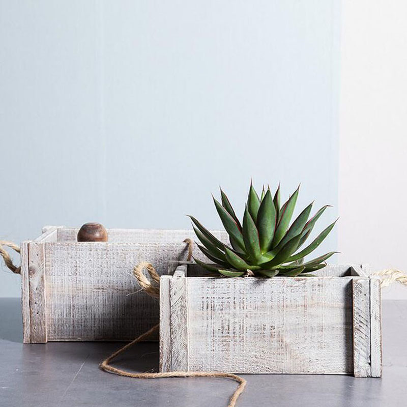 office planter. 3pcs/set Rectangle Shabby Chic White Stained Aged Vintage Wooden Planter Box Flower Pot Office Outdoor Decoration ZA4825-in Pots \u0026 Planters From Home