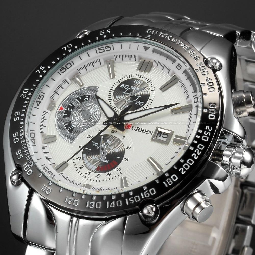 CURREN Men Full Steel Watch Fashion Casual Male Watch Fashion Date Hours Clock White Dial Sport Quartz Movement Wristwatches