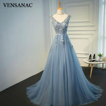VENSANAC New 2017 A Line Lace Appliques V Neck Long Evening Dresses Sleeveless Elegant Beadings Sweep Train Party Prom Gowns