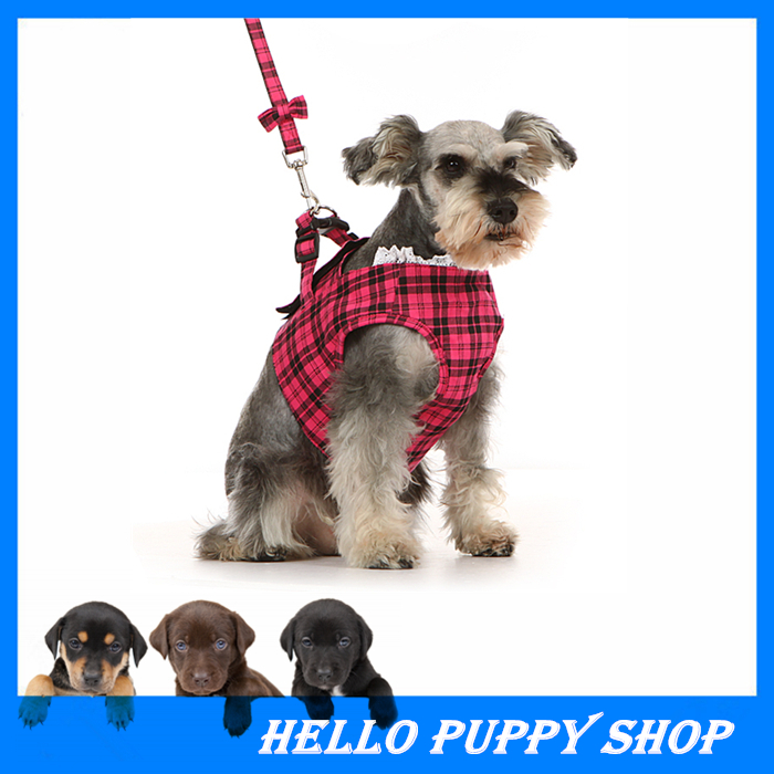 new 2017 hot pet dog collar leash dog harness tartan design soft vest for puppy small dogs in. Black Bedroom Furniture Sets. Home Design Ideas