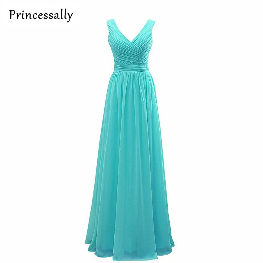Turquoise Long Bridesmaid Dresses 2017 Princessally A-line V Neck Women Pleated Formal Wedding Party Gowns Vestido De Festa