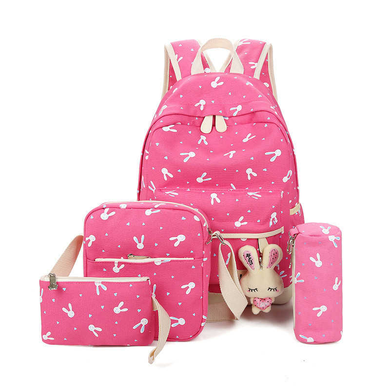 4 ピース/セットウサギランドセルのラップトップティーンエイジャー女性 Bagpack ファムかわいいキャンバスランドセル子供リュックサックバッグ