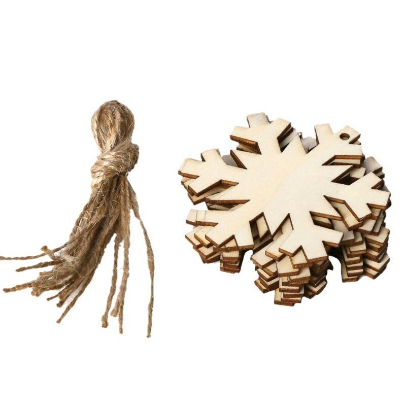 10 pièces/ensemble arbre de noël flocon de neige bricolage pendentif en bois suspendus avec des cordes de lin bricolage ornement artisanat fête décor à la maison