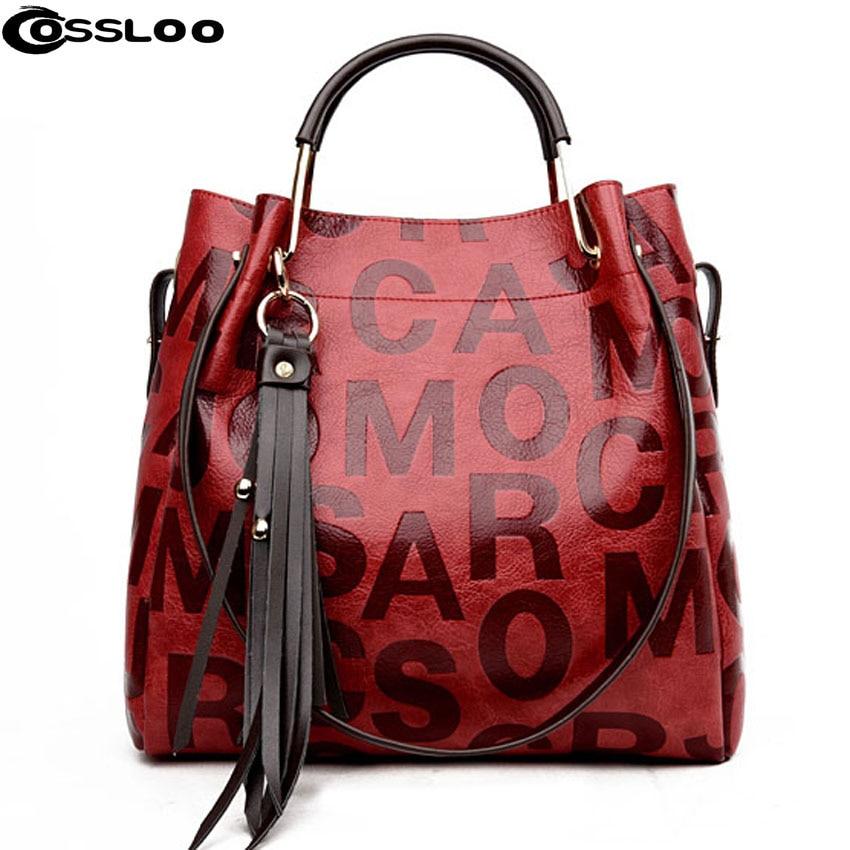 COSSLOO New arrival Women leather handbags fashion shoulder bag composite bag tassel cross body bags brand women messenger bags