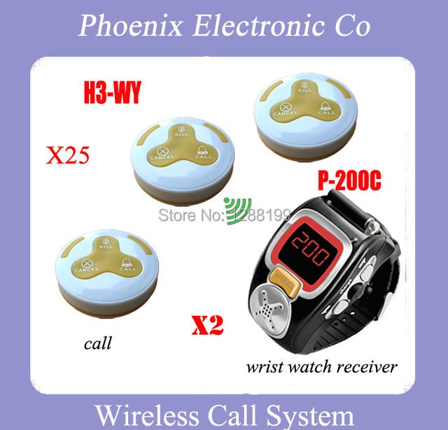 Sistema de Paginación Restaurante Wireless Con 25 Botón de Campana H3-WY Triple 2 Receptor Buscapersonas Muñeca P-200C Garantía de Un Año