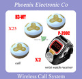 Wireless Restaurant Paging System With 25 Triple Button Bell H3-WY 2 Wrist Pager Receiver P-200C Warranty One Year