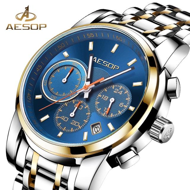 Эзоп Спорт Для мужчин часы Для мужчин кварцевые наручные часы Нержавеющаясталь Водонепроницаемый мужской часы наручные хронограф Relogio masculino hodinky 27