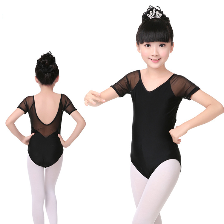 V-neck Girl Ballet Dance Leotard Tight Black Mesh Ballet Dancewear Children Gymnastics Leotards Girls Ballerina Leotards Costume