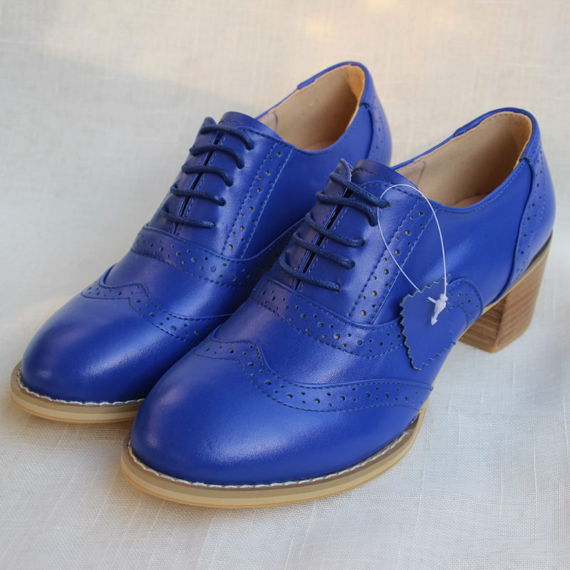 Royal Blue Lace Up Single Shoes Female Brock Rough With Women s Shoes British Handmade Shoes