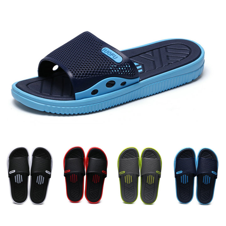 2019 Fashion Beach Slipper Hot Sell Mens Leisure Walk Flip Flops Slide Indoor Outdoor Casual Beach Eva Shoes Slipper For Mens