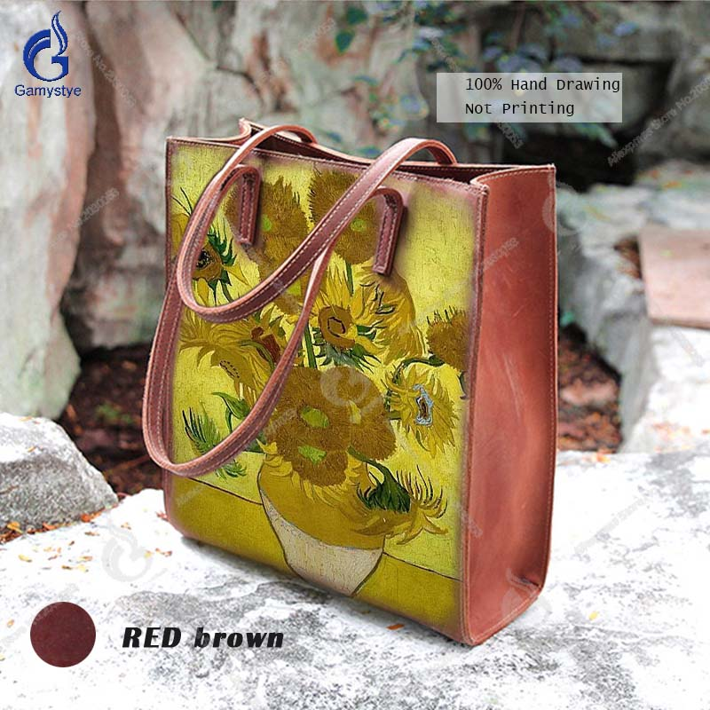 купить Gamystye Van Gogh Sunflower Prints Top Handle Bags Women Genuine Leather Bags Fashion Hand Painted Graffiti Messenger Bags Totes по цене 19416.01 рублей